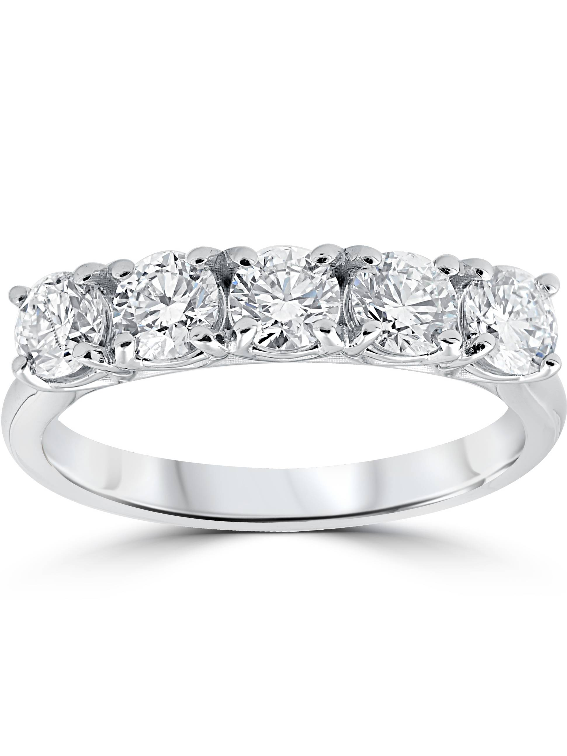1 1/4 ct 5-Stone Diamond Trellis Anniversary Ring 14k White Gold