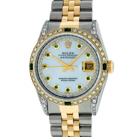 Pre-Owned Rolex Mens Datejust Steel & 18K Yellow Gold MOP Diamond & Emerald Watch 16013 Jubilee