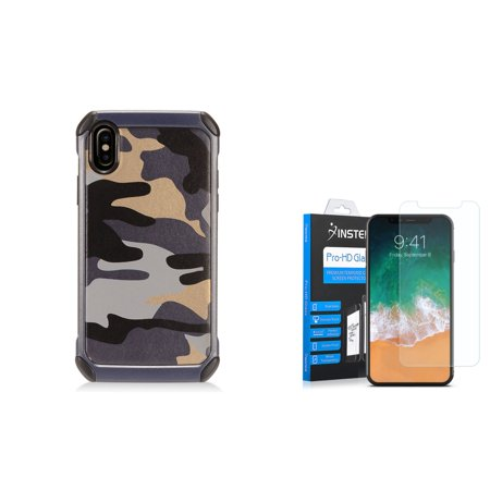 Insten Camouflage Hard Plastic TPU Cover Case For Apple iPhone 10 iPhone X 2017 - Gray/Black (Bundle with Tempered Glass Screen Protector)