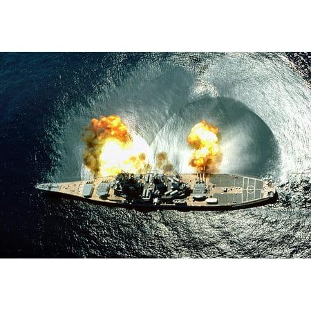 Canvas Print USS Iowa Muzzle Flash Us Naval Vessel Ship Stretched Canvas 10 x