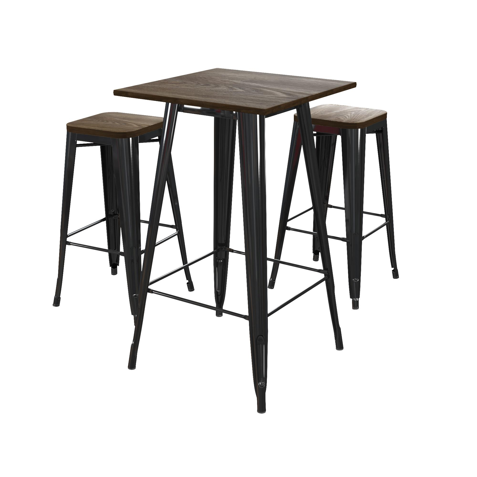 Dhp Fusion 30 Metal Bar Stool With Wood Seat Black Set Of 2