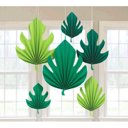 Frosted Leaf Fan (Hawaiian Luau Tropical Leaves Paper Fan Decorations (6pc))
