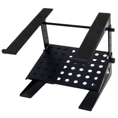 Seismic Audio Table Top or Desk Laptop Stand with Shelf - Height and Width Adjustable Black - COMS3