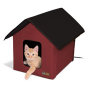 "K Outdoor Heated Kitty House Barn, Red/Black, 18"" x 22"" x 17"", 20W"