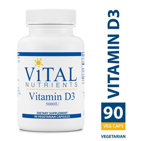 Vital Nutrients - Vitamin D3 5,000 IU - Supports Calcium Absorption and Bone Health - Gluten Free - 90 Vegetarian Capsules per
