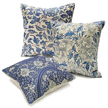Vintage Oriental Blue Floral Throw Pillow Cushion Cover 18