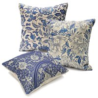 Product Image Vintage Oriental Blue Floral Throw Pillow Cushion Cover 18''x18'' Standard Decorative