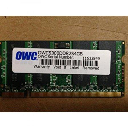 - OWC / Other World Computing 4GB 667MHz 200-Pin DDR2 SDRAM (PC2-5300) Memory Upgrade Module for MacBook, MacBook Pro, Mac mini, iMac and PC Laptops, CL5, Dual Rank, Non ECC, 1.8V