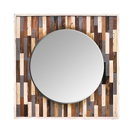 Reclaimed Heart Pine - Varaluz Country Pine Reclaimed Frame Mirror - 40W x 40H in.
