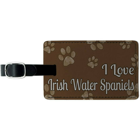 I Love Irish Water Spaniels Brown with Paw Prints Leather Luggage ID Tag