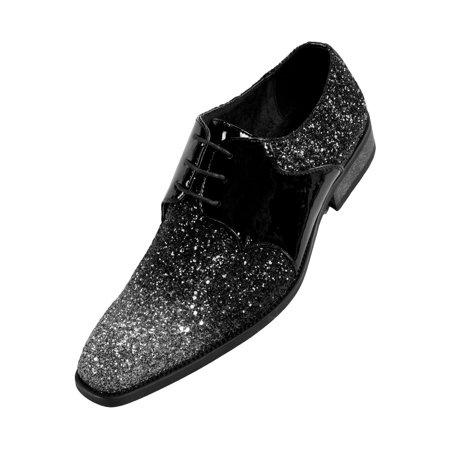 (Amali Men's Two Tone Metallic Tuxedo Oxford Patent Trim Dress Shoe Style Gradey)
