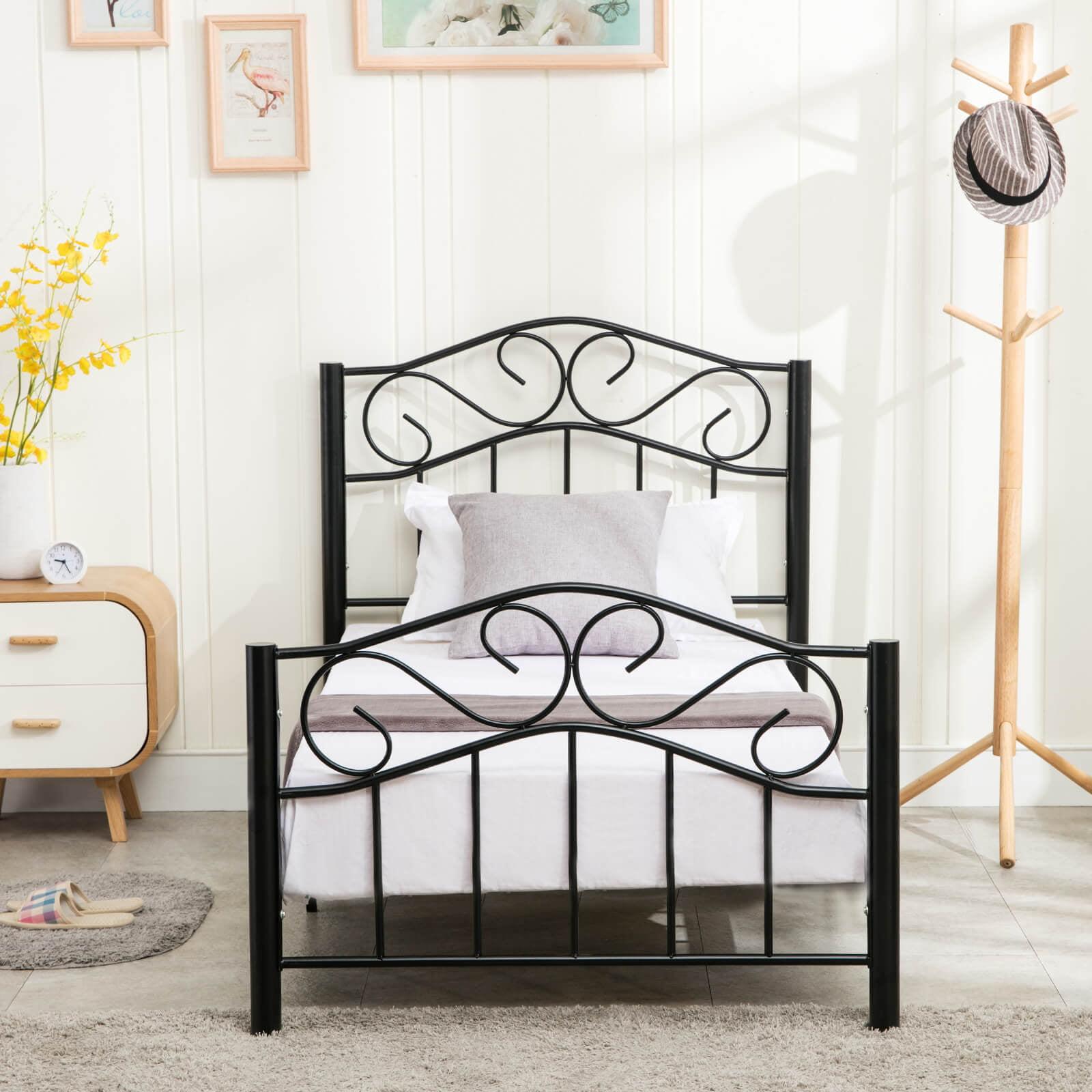 Mecor Bed Frame Twin Size Headboard Footboard Bedroom Steel Heavy Duty Metal Black Walmart Com Walmart Com
