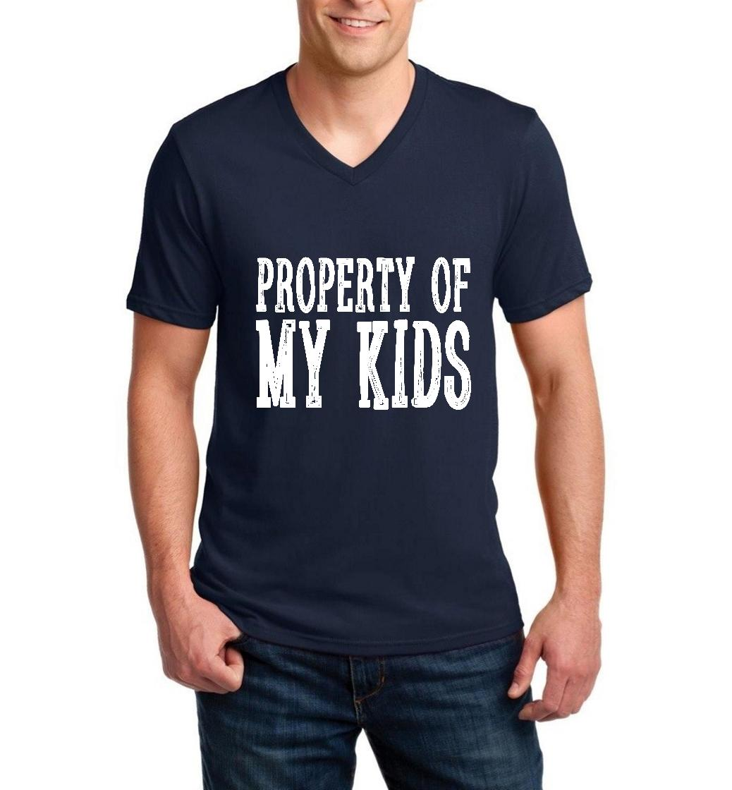 Property of My Kids Style with Hats Bags Birthday Christmas Mothers Day Gift Men V-Neck Shirts Ringspun