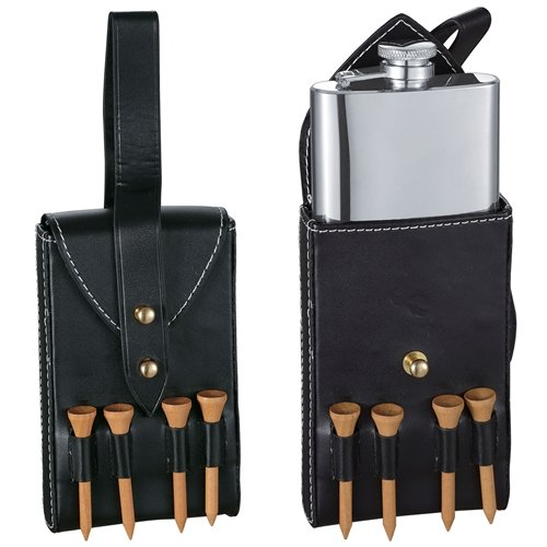 Visol VF1313 Puck 4oz Hip Flask with Black Leather Wrap and Golf Tees