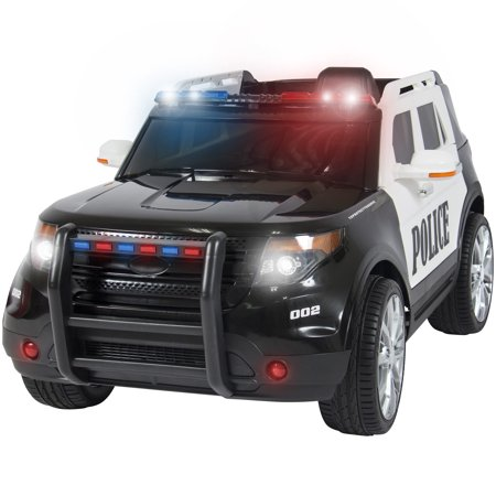 Best Choice Products 12V Kids Powered Police RC Remote Ride-On SUV Car w/ Parent Control, 2 Speeds, LED Lights, AUX, Sirens -