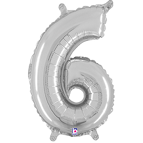 Number 6 Silver Megaloon Junior Balloon