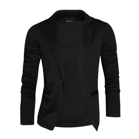 Azzuro Men's Nocth Lapel One Button Slim Blazer Black (Size L / 44)