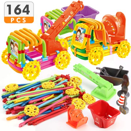 Magicfly 164 Pieces Bendable Building Toys Age 3+ Stem Learning Toys DIY Molding Sticks Toys, Multicolor (Bendable Building Sticks)