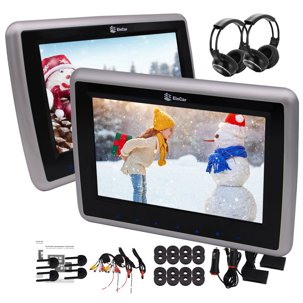 Pair of headphones included 10'' inch Dual Screens with 1...