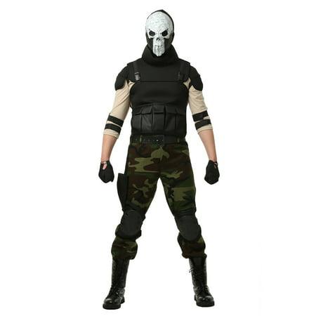 Skull Military Man Costume for Plus Size Men