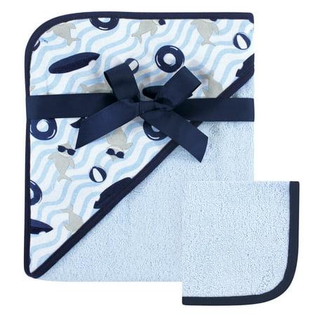 Hudson Baby Boy and Girl Woven Hooded Towel and Washcloth, Shark - Shark Towel