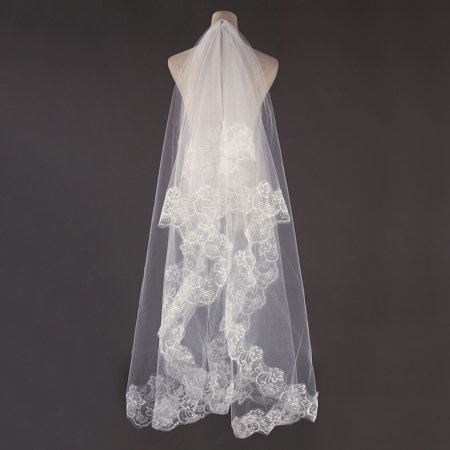 1 T 3M Bridal Wedding Long Veil Cathedral Elegant Lace Applique Edge Floor without Comb (Diamond White Veils)