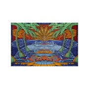 Sunshine Joy 3D Epic Tropical Paradise Surf Wave Palm Tree Tapestry Tablecloth Beach Sheet Wall Art Huge 60 x 90 Inches - Classic