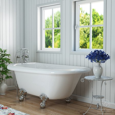 Pelham White Luxury 54 Inch Clawfoot Tub With Vintage Design In Includes