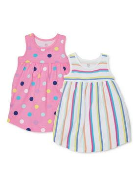 Wonder Nation Baby Girls & Toddler Girls Knit Sleeveless Sun Dresses, 2-Pack (12M-5T)