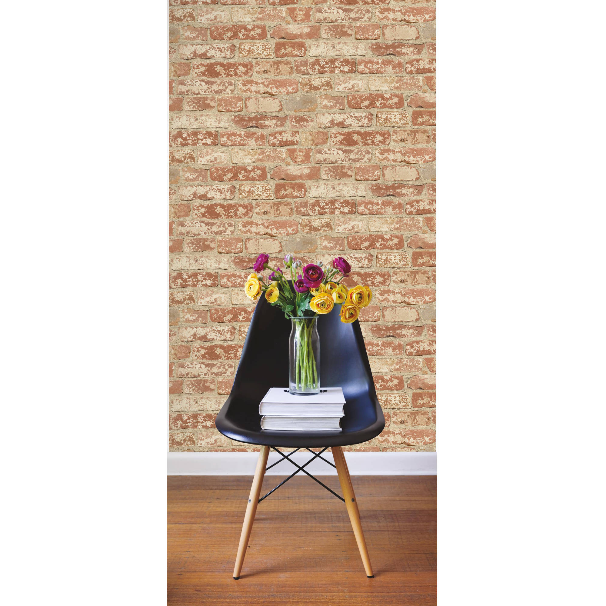 RoomMates Stuccoed Red Brick Peel and Stick Wall Décor Wallpaper