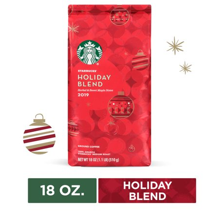 Starbucks Holiday Blend Medium Roast Ground Coffee, 18 Oz. Bag | Herbal & Sweet Maple Notes