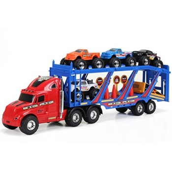 New Bright 22 in. Big Foot Car Carrier with 4 Trucks and Accessories