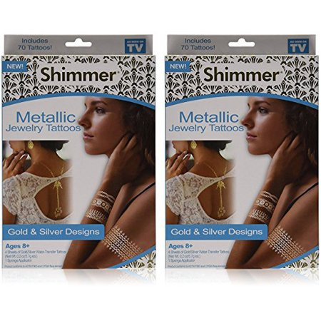 As Seen On TV Shimmer Metallic Jewelry Tattoos (2 Pack) (Shimmer Tattoos)