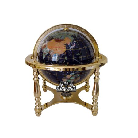 Unique Art 13-Inches Tall Table Top Blue Ocean Gemstone World Globe with Gold 4 Legs
