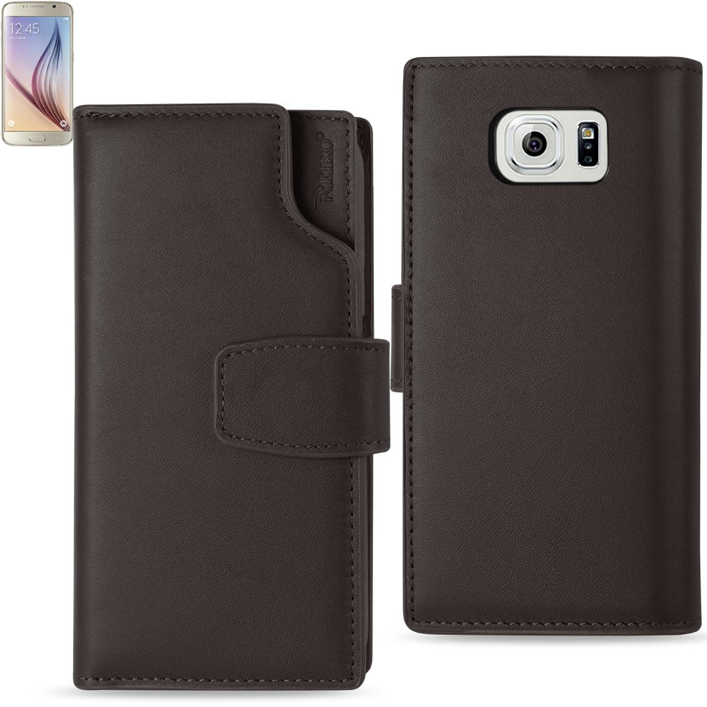 REIKO SAMSUNG GALAXY S6 GENUINE LEATHER WALLET CASE WITH OPEN THUMB CUT IN UMBER