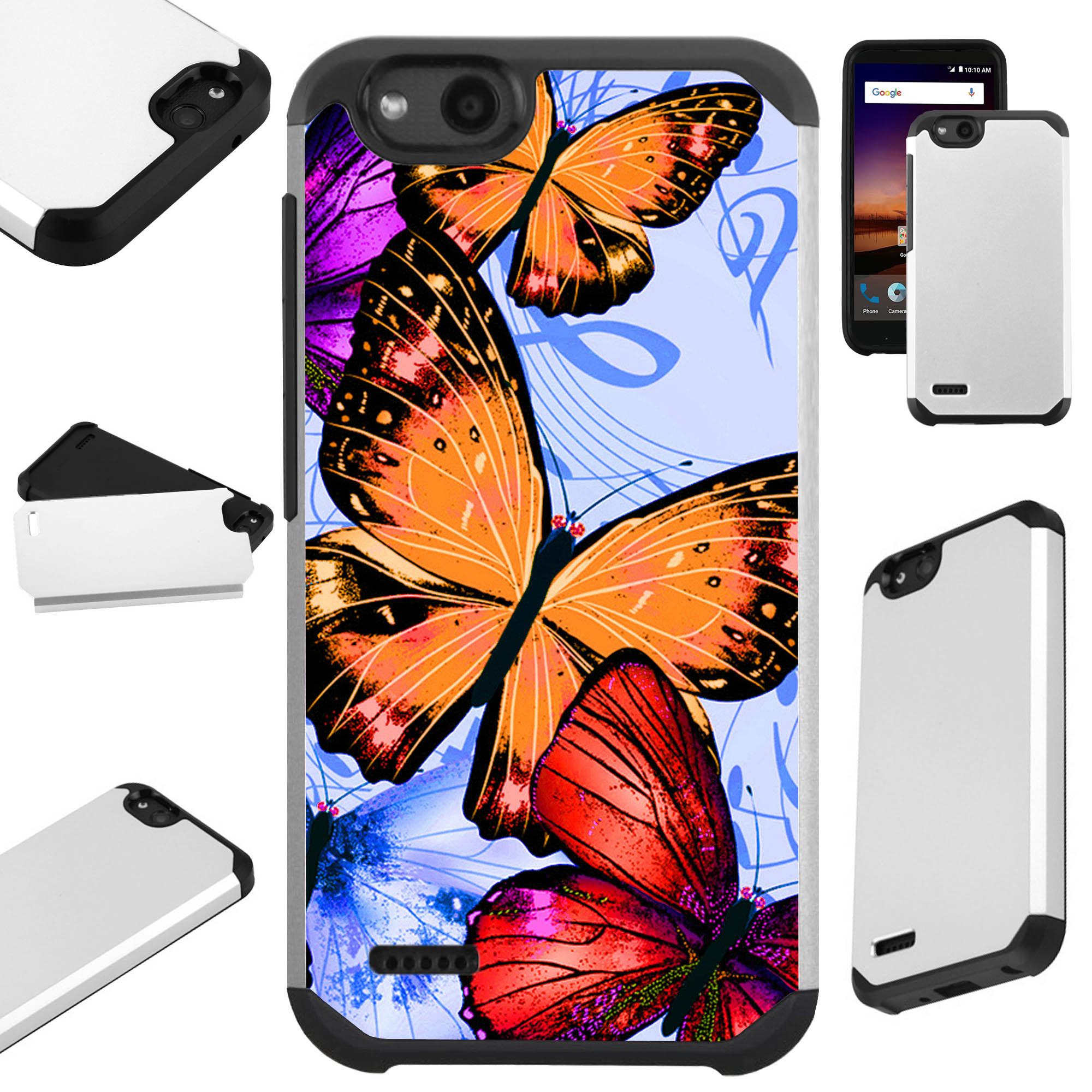 For ZTE Avid 557 / ZTE Tempo Go Case Hybrid TPU Fusion Phone Cover (Orange Butterfly)