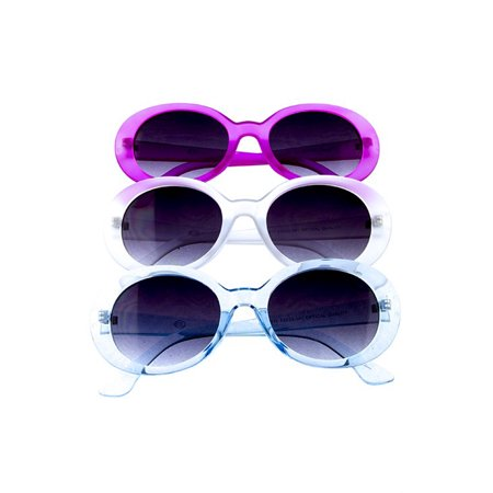 Mod Sunglasses - Cool 60s Retro Style Shades - Pink, Clear, Blue (60s Style Sunglasses)