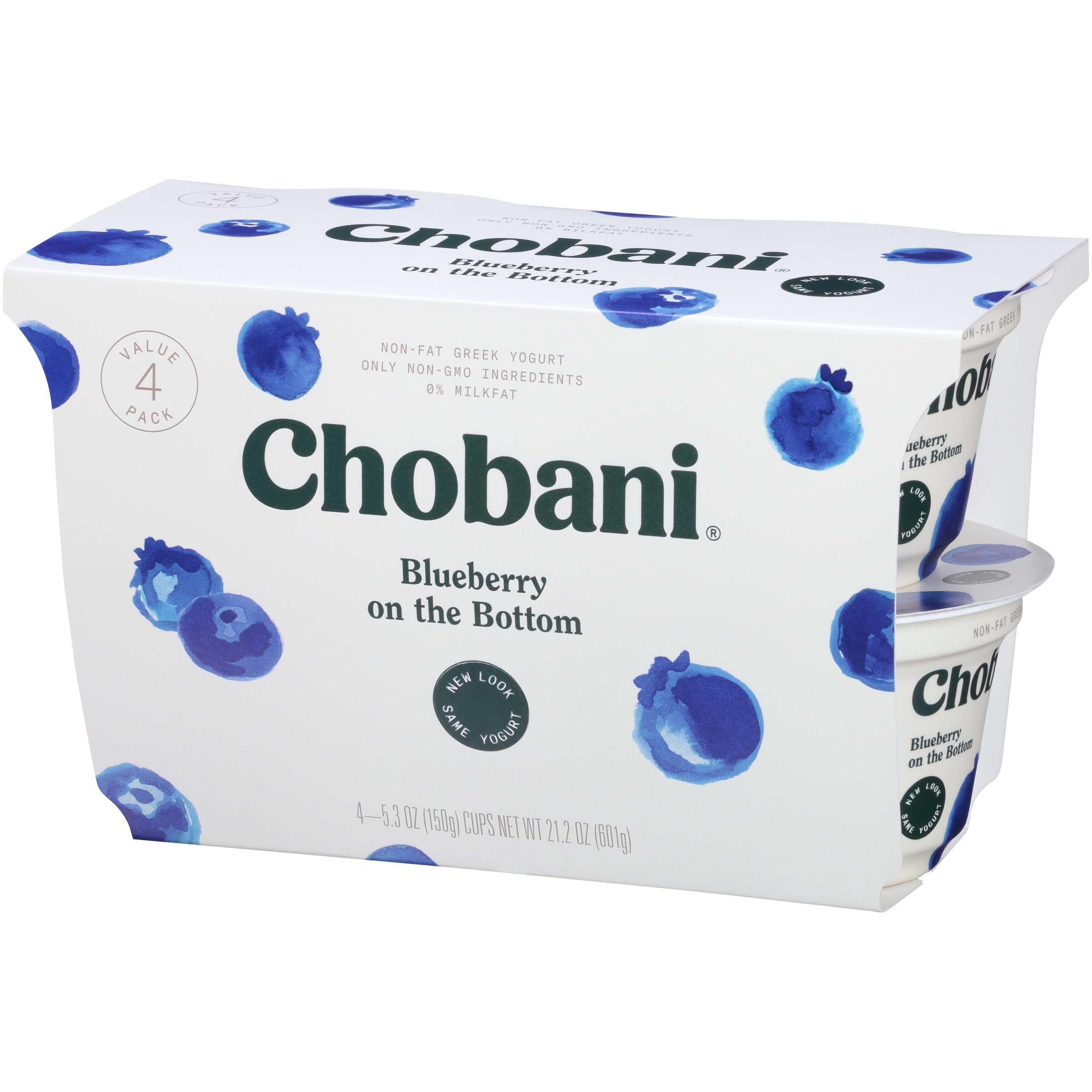 Chobani Greek Yogurt Blueberry on the Bottom, 5.3 oz, 4 Count Pack