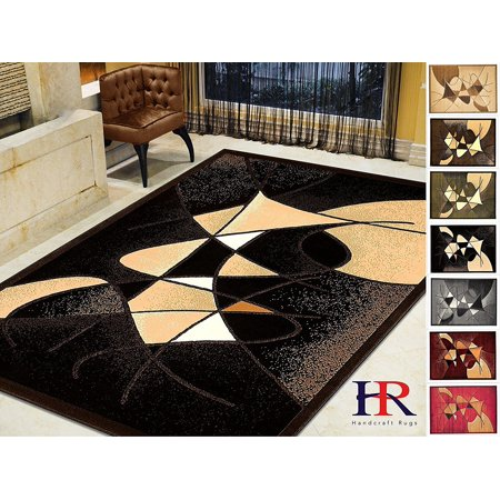 Handcraft Rugs-Modern Contemporary Living Room Rugs-Abstract Carpet with Round/Oval Swirls Pattern-Shed free Black/Ivory/Beige/Brown(2x 3 feet - Black Gold Carpet