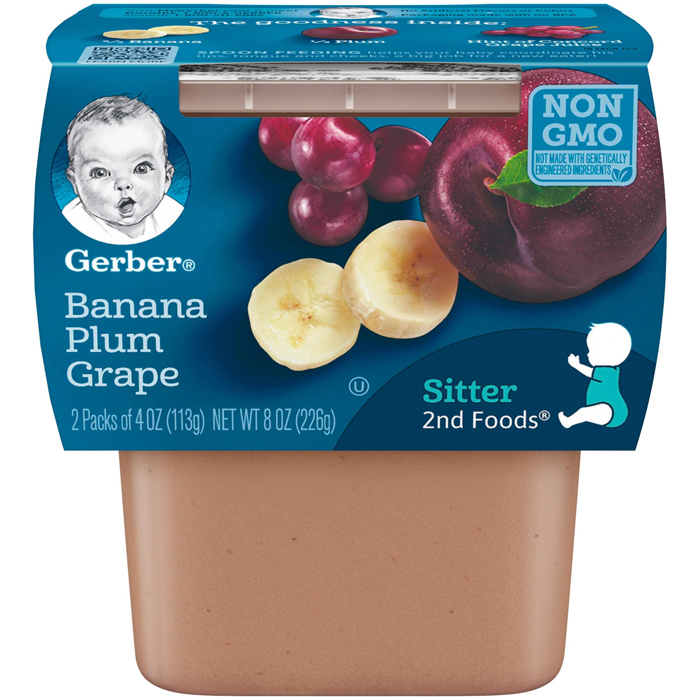 Gerber 2nd Foods Banana Plum Grape Baby Food, 4 oz. Tubs, 2 Count (Pack of 8) by Gerber