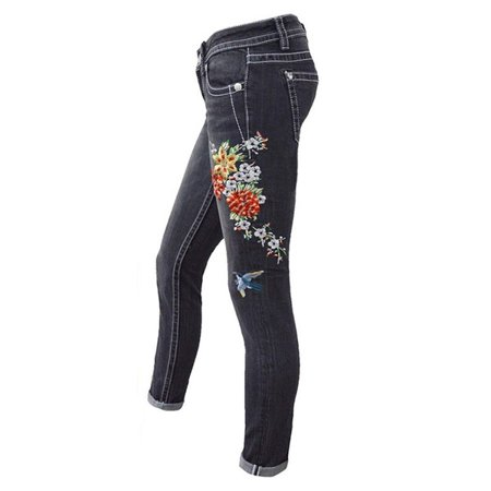 Women Embroidered Flower Jeans Skinny Denim Pants