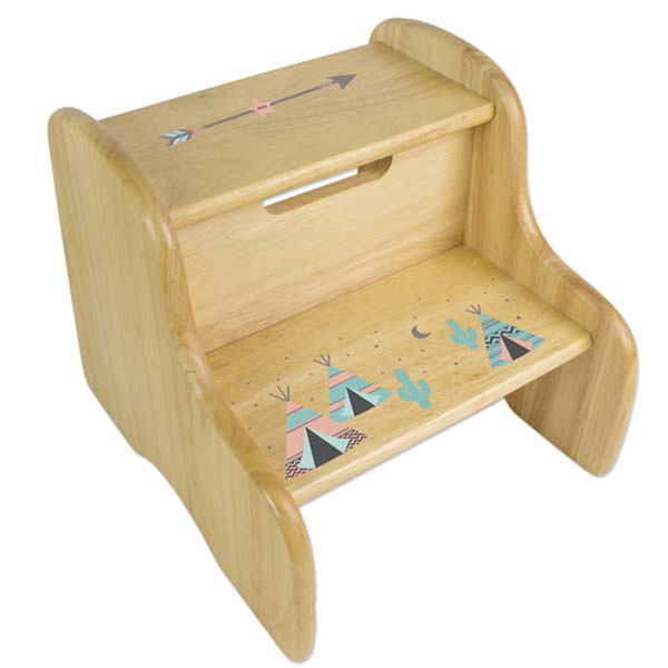 Personalized TeePee coral aqua Wooden Two Step Stool