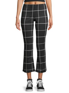 Juniors' Ikeddi Flare Knit Checkered Pants with Pull On Waistband