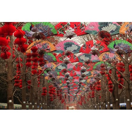 Paper Fans and Lucky Red Lanterns are Chinese New Year Decorations, Ditan Park, Beijing, China Print Wall Art By William Perry](Chinese New Year Home Decoration Ideas)