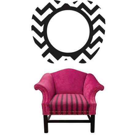 Living Room Art Apple Zigzag Pattern Print Circle Frame 16x24