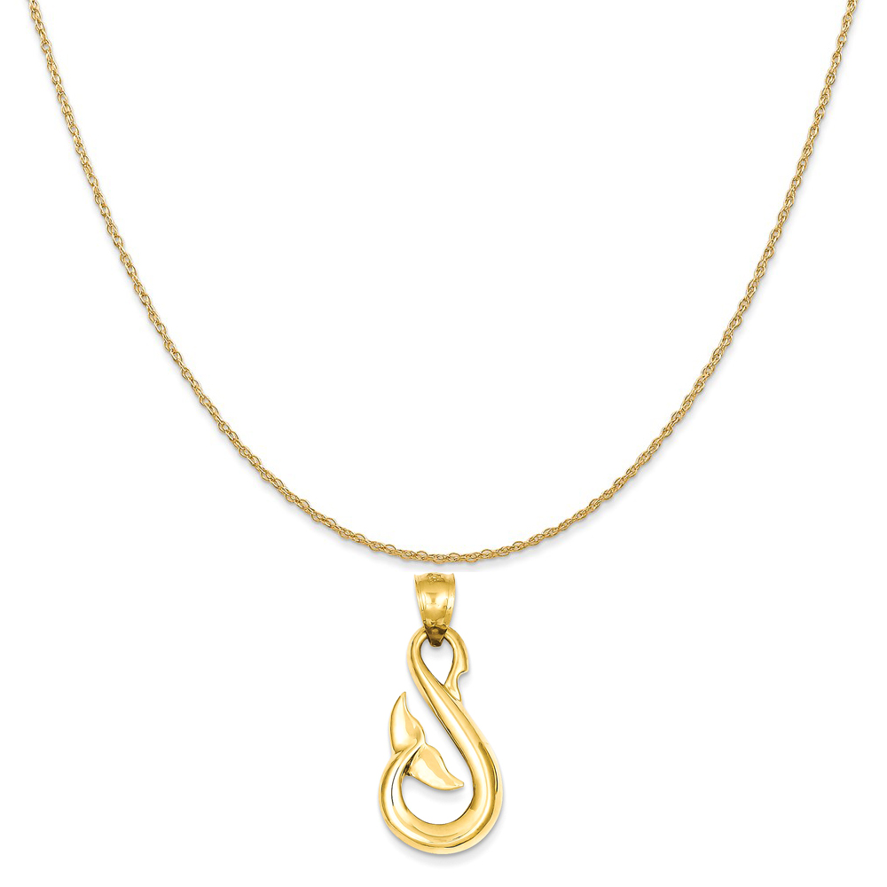 """14k Yellow Gold Whale Tail Pendant on a 14K Yellow Gold Rope Chain Necklace, 20"""""""
