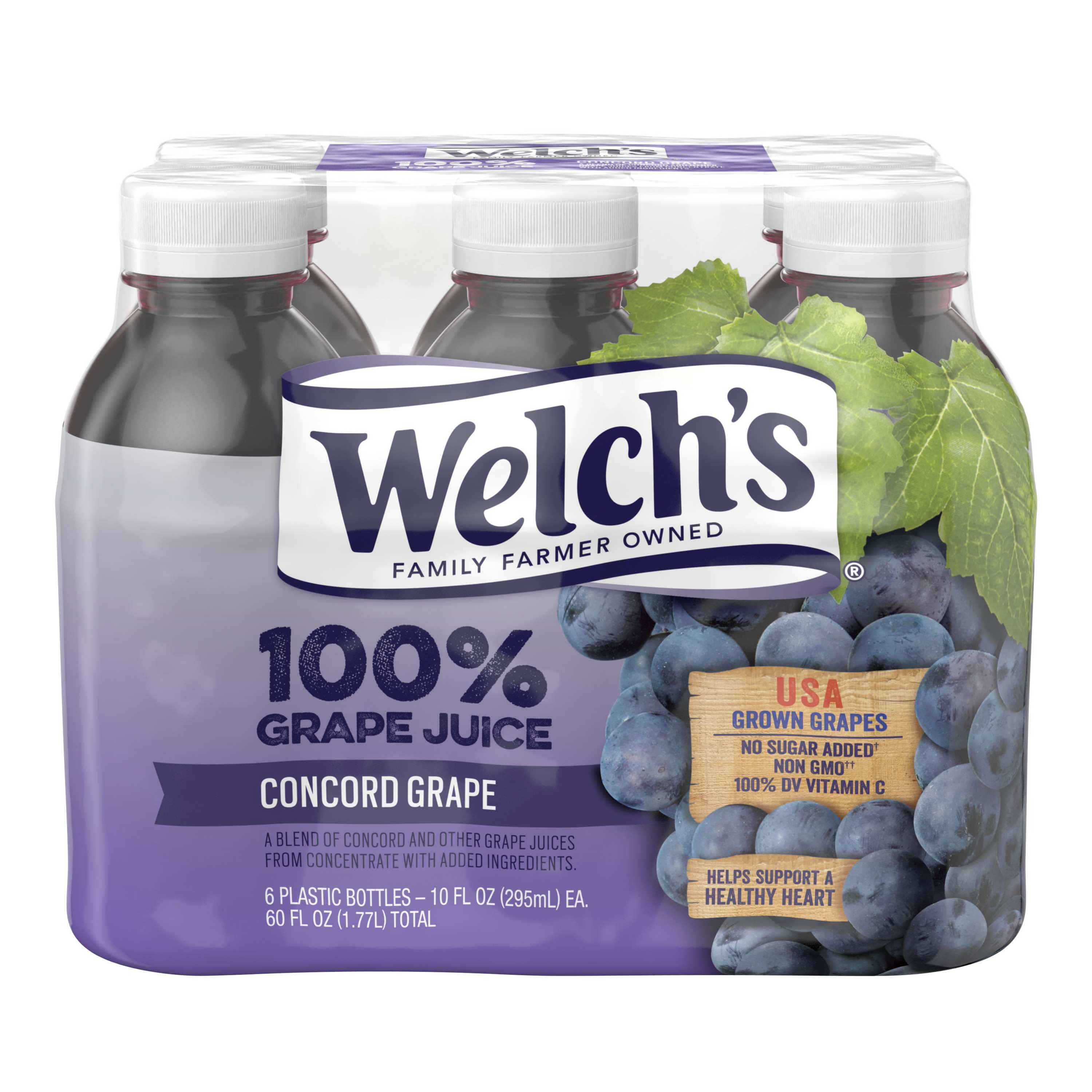 Welch's 100% Juice, Concord Grape, 10 Fl Oz, 6 Count