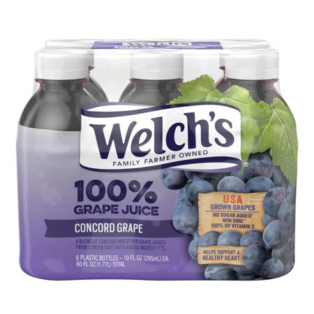 (24 Bottles) Welch's 100% Juice, Concord Grape, 10 Fl Oz