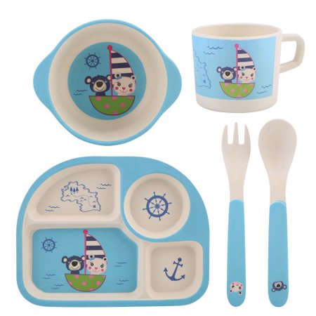 Kids Dinnerware Set Kids Dishes(Cups Plates Spoon Forks bowls) Bamboo Fabric Tableware Cartoon Bear 5 Piece Degradable Drop Resistance