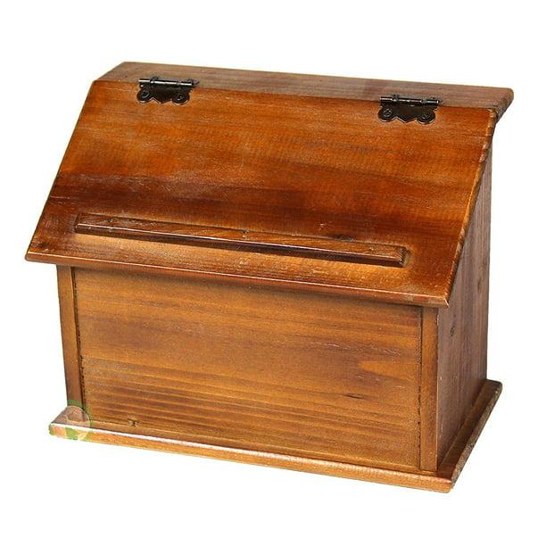Vintiquewise Tm Old Style Wooden Podium Recipe Box Walmart Com Walmart Com